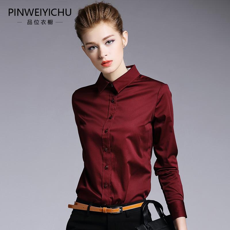 衬衫 酒红色衬衫女长袖全棉加绒修身2019秋装新款打底衫春加厚职业衬衣_推荐淘宝好看的女衬衫