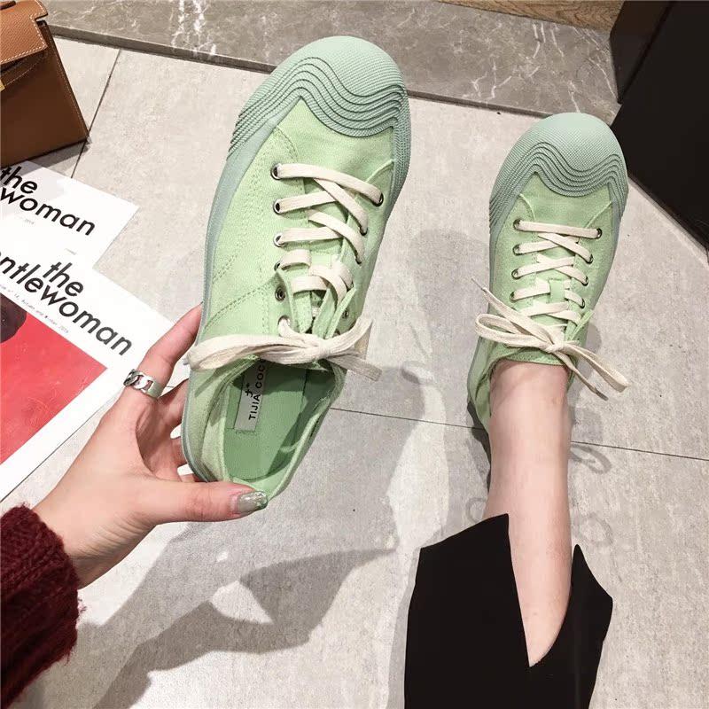 糖果色时尚平底鞋 运动鞋女韩版学生时尚糖果色系带平底鞋休闲鞋平跟单鞋球鞋跑步鞋_推荐淘宝好看的女糖果色时尚平底鞋