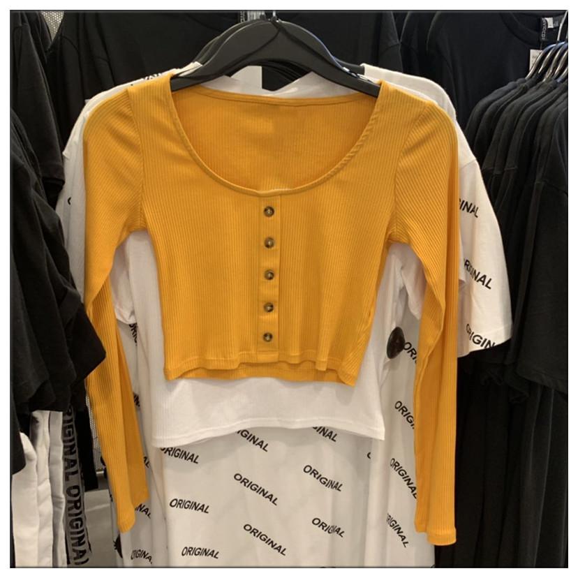 黄色针织衫 hm8mz 姜黄色打底长袖T恤针织衫大圆领罗纹高腰露脐短款上衣纽扣_推荐淘宝好看的黄色针织衫