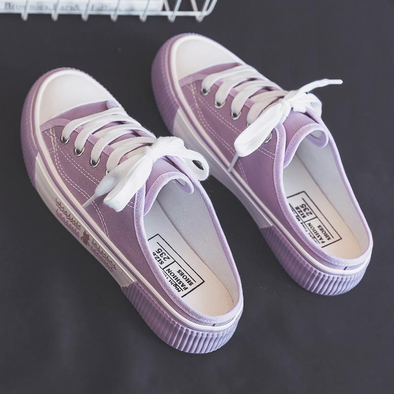 紫色单鞋 紫色半拖帆布鞋女鞋夏季薄款百搭透气小白鞋女无后跟半托懒人单鞋_推荐淘宝好看的紫色单鞋