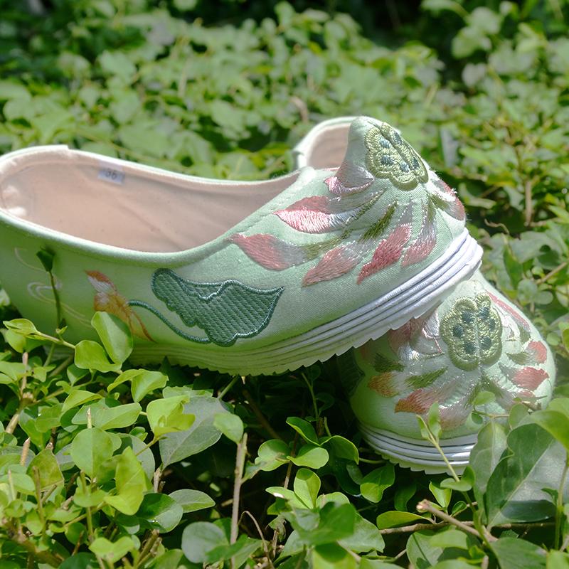 绿色高跟鞋 钟灵记【般若】坡跟鞋千层底内增高高跟弓鞋古风绿色绣花鞋翘头鞋_推荐淘宝好看的绿色高跟鞋