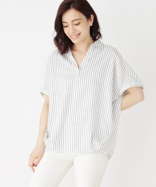 女款短袖衬衫 B11035日单新款日系V领套头宽松显瘦女条纹翻边短袖衬衫有大码_推荐淘宝好看的女短袖衬衫