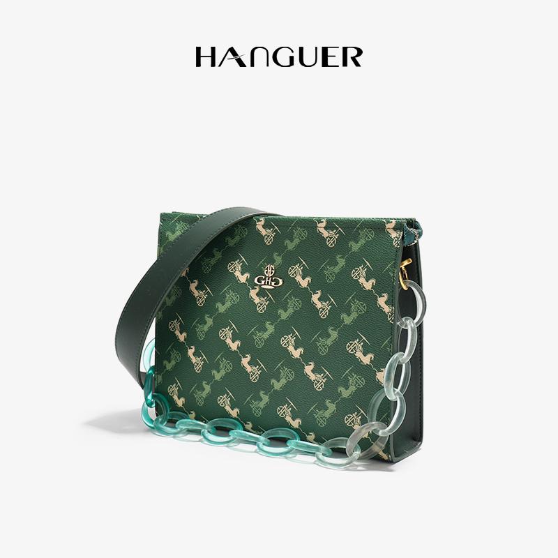 绿色信封包 HANGUER&CK 大牌奢侈品GHG墨绿色手拿信封包小包包女链条斜挎包_推荐淘宝好看的绿色信封包
