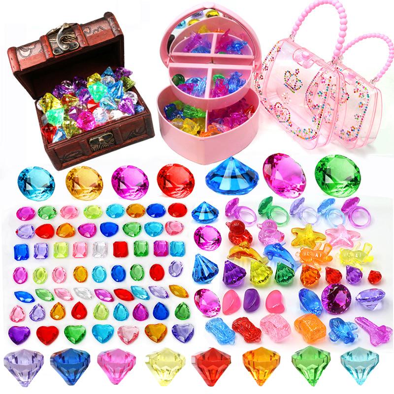 太平鸟乐町 儿童宝石玩具钻石水晶七彩色亚克力塑料玩具宝石公主女孩宝箱盒子_推荐淘宝好看的女太平鸟乐町
