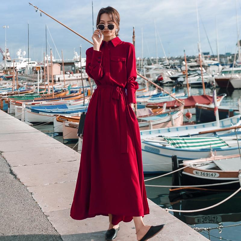 红色雪纺衫 赫本风红色长袖衬衫连衣裙女中长款2021春秋宽松收腰雪纺打底长裙_推荐淘宝好看的红色雪纺衫