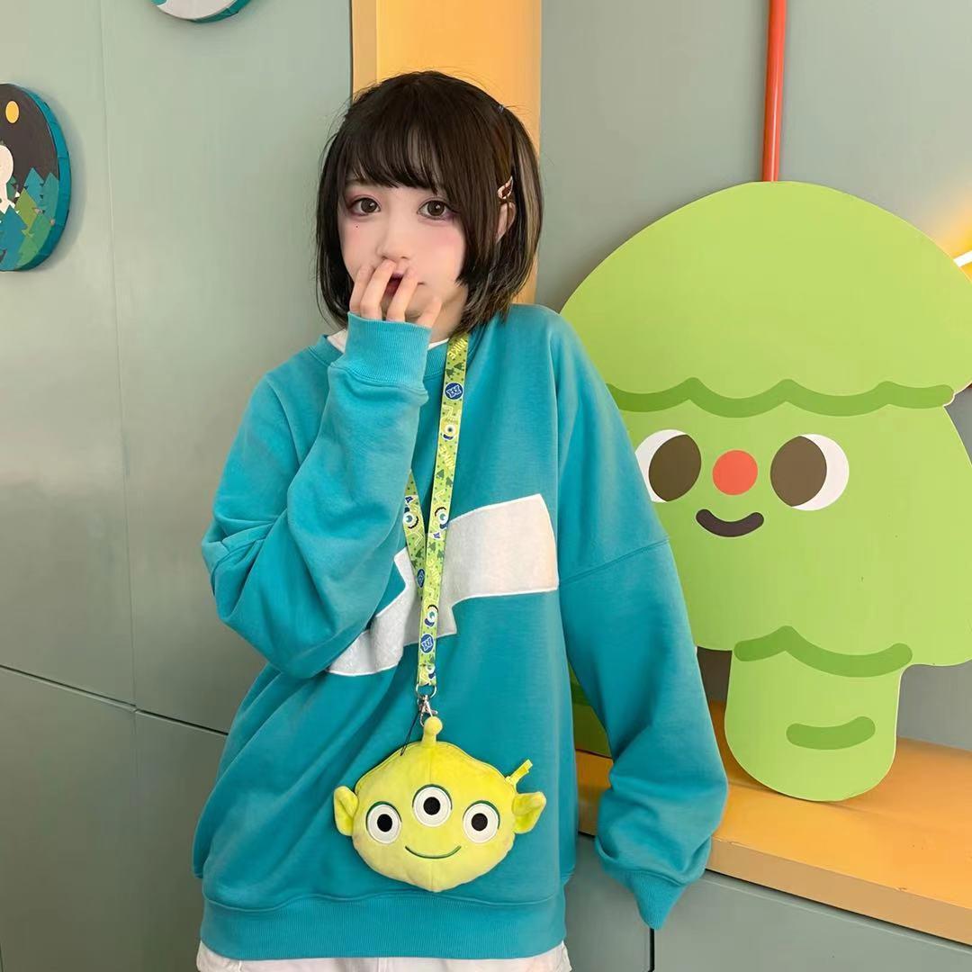 绿色卫衣 十万伏特2021春毛绒闪电黄色蓝绿色可爱情侣闺蜜闪电2.0卫衣定金_推荐淘宝好看的绿色卫衣