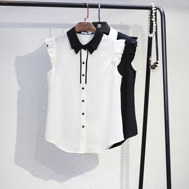 白色雪纺衫 原创设计夏季新款黑色白色雪纺衫无袖衬衫淑女OL百搭显瘦有大码_推荐淘宝好看的白色雪纺衫