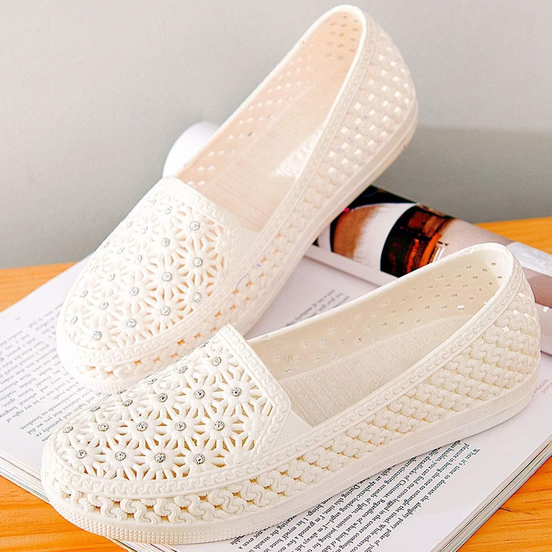 平底凉鞋 洞洞凉鞋防滑夏镂空包头凉鞋女鞋休闲平底护士鞋白色妈妈鞋沙滩鞋_推荐淘宝好看的女平底凉鞋