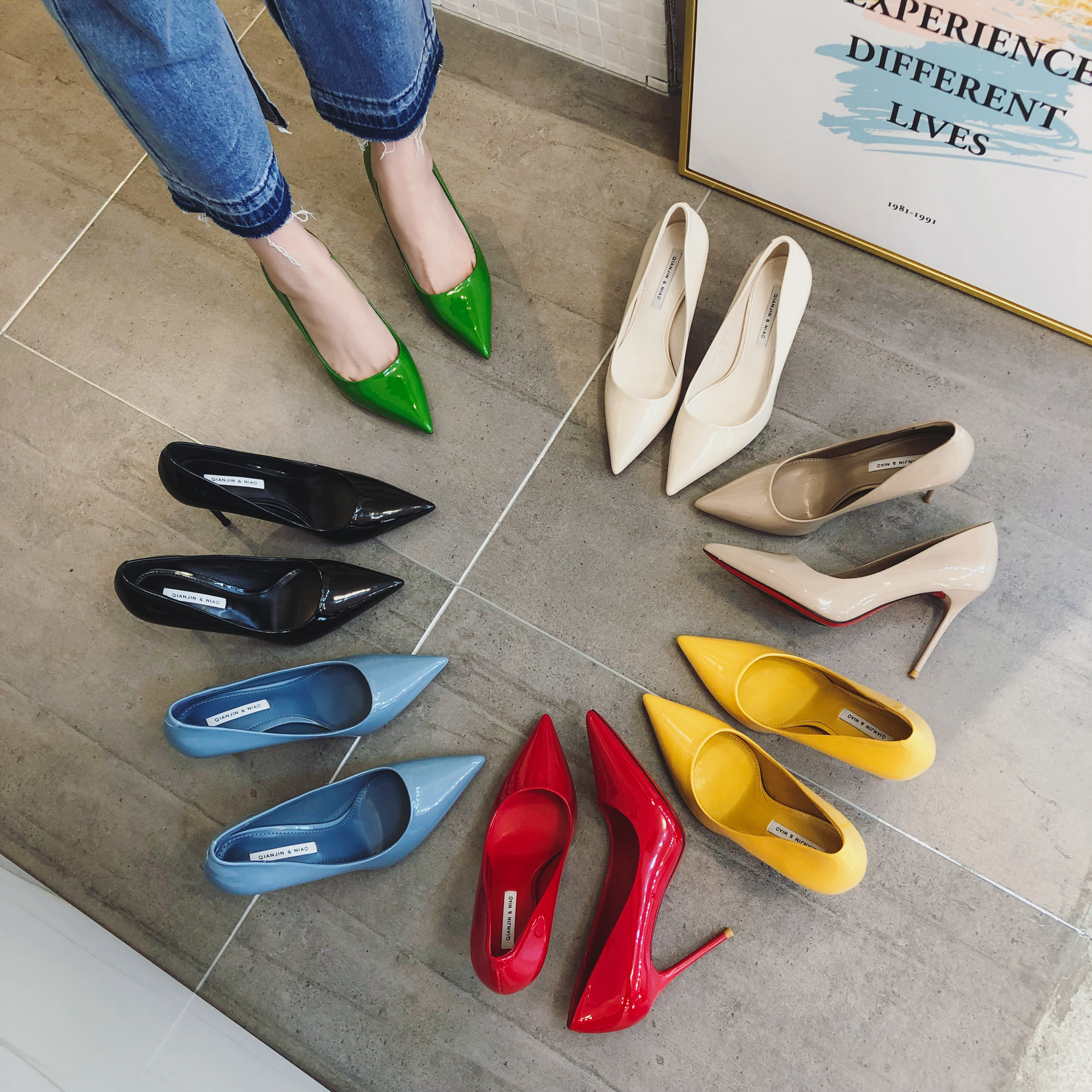绿色高跟鞋 20新款高端彩色高跟鞋糖果色漆皮蓝色绿色彩虹细跟尖头单鞋女_推荐淘宝好看的绿色高跟鞋