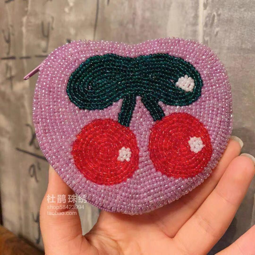 紫色手拿包 杜鹃珠绣小红书新品爱心紫色樱桃学生手拿纯手工串珠少女硬币包_推荐淘宝好看的紫色手拿包