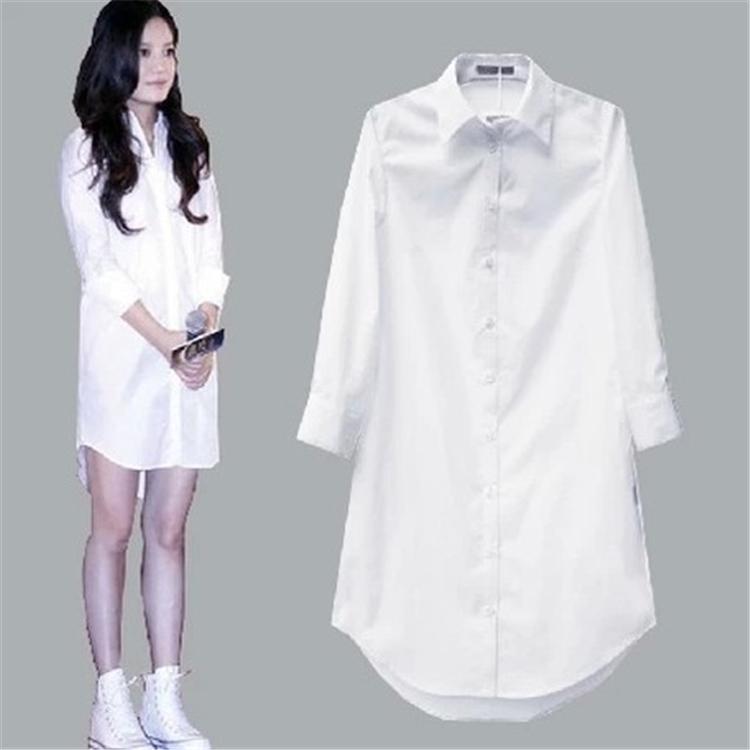 白色衬衫 春秋韩范男友BF风大码长袖白衬衫裙睡衣上衣宽松衬衣中长款衬衫女_推荐淘宝好看的白色衬衫