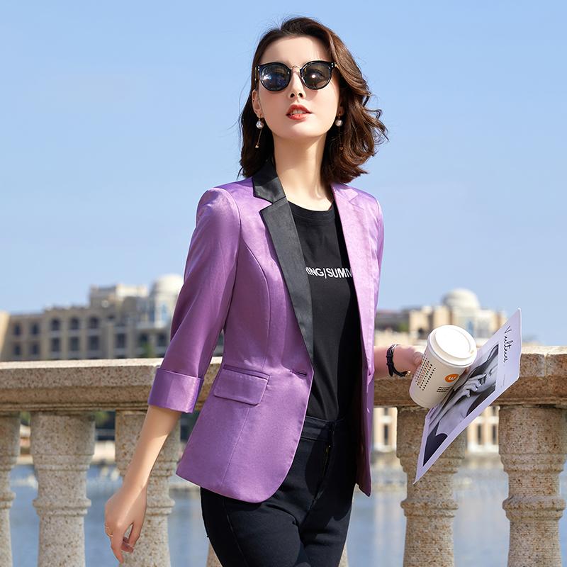 紫色小西装 网红西装外套女薄款修身上衣2021年春夏款不对称设计感紫色小西服_推荐淘宝好看的紫色小西装