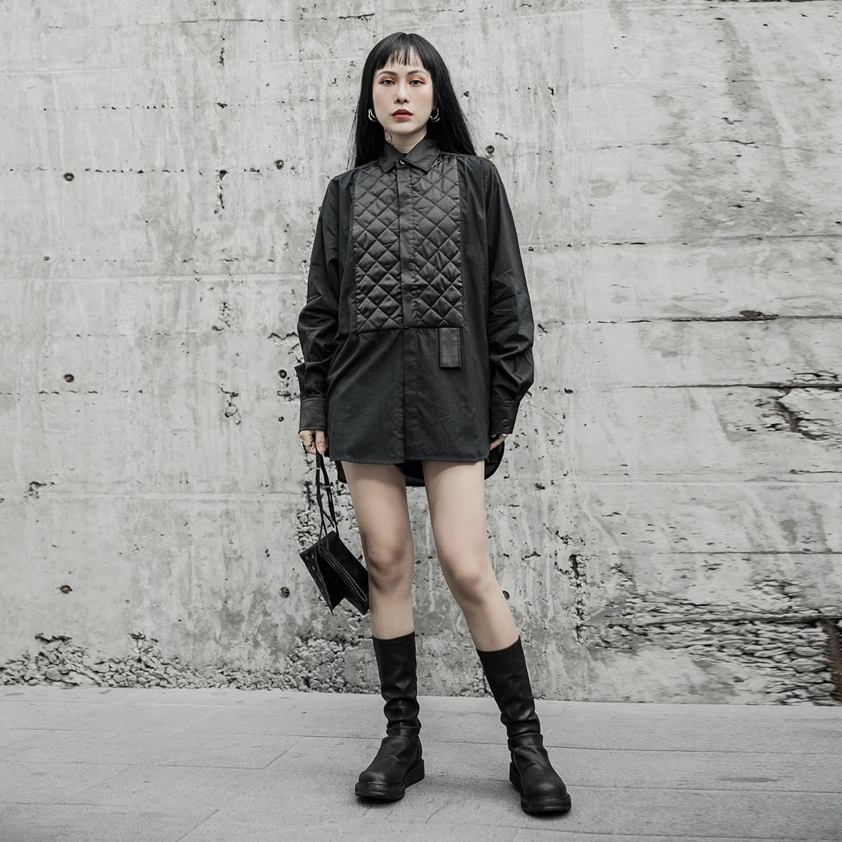 女士长款衬衫 SIMPLE BLACK 2021春秋暗黑风薄棉衬衣女 宽松中长款长袖休闲衬衫_推荐淘宝好看的女长款衬衫