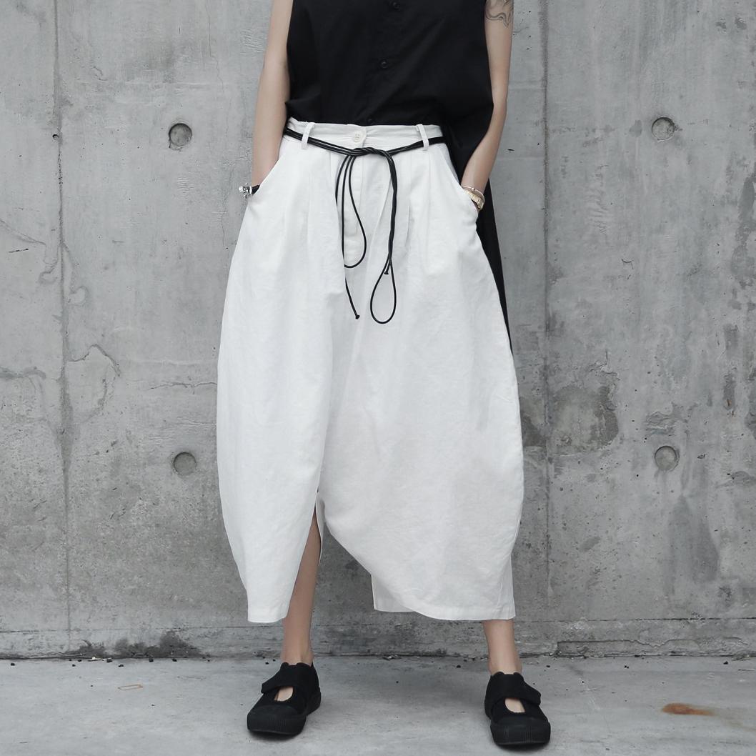 白色休闲裤 SIMPLE BLACK 暗黑日系原创白色棉麻裤子圆弧形麻料宽松休闲裤裙_推荐淘宝好看的白色休闲裤