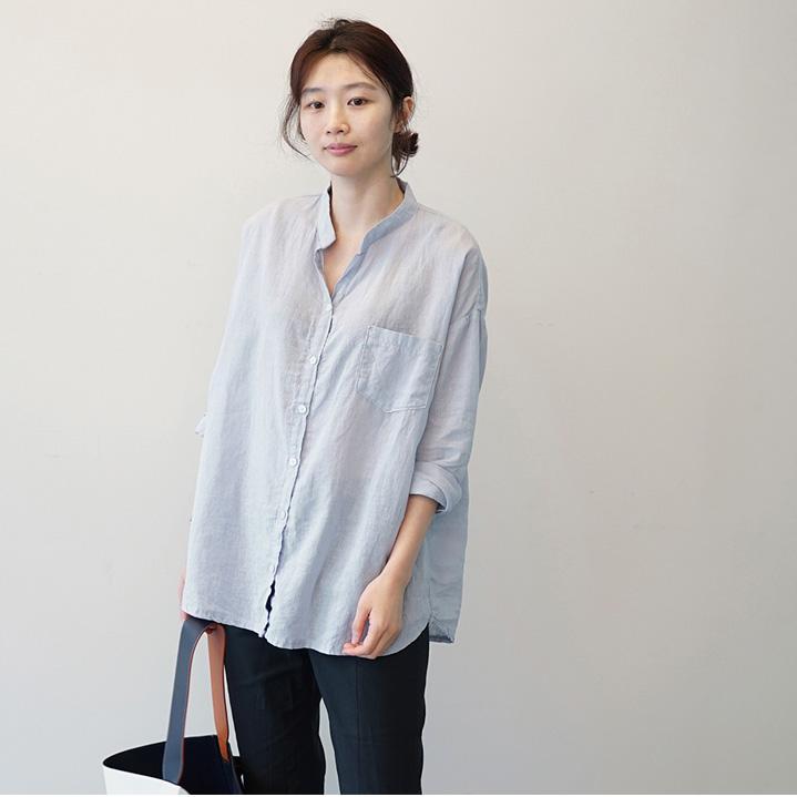 休闲长袖衬衫 韩国女装代购新款韩版休闲亚麻长袖衬衫G8243_推荐淘宝好看的女休闲长袖衬衫