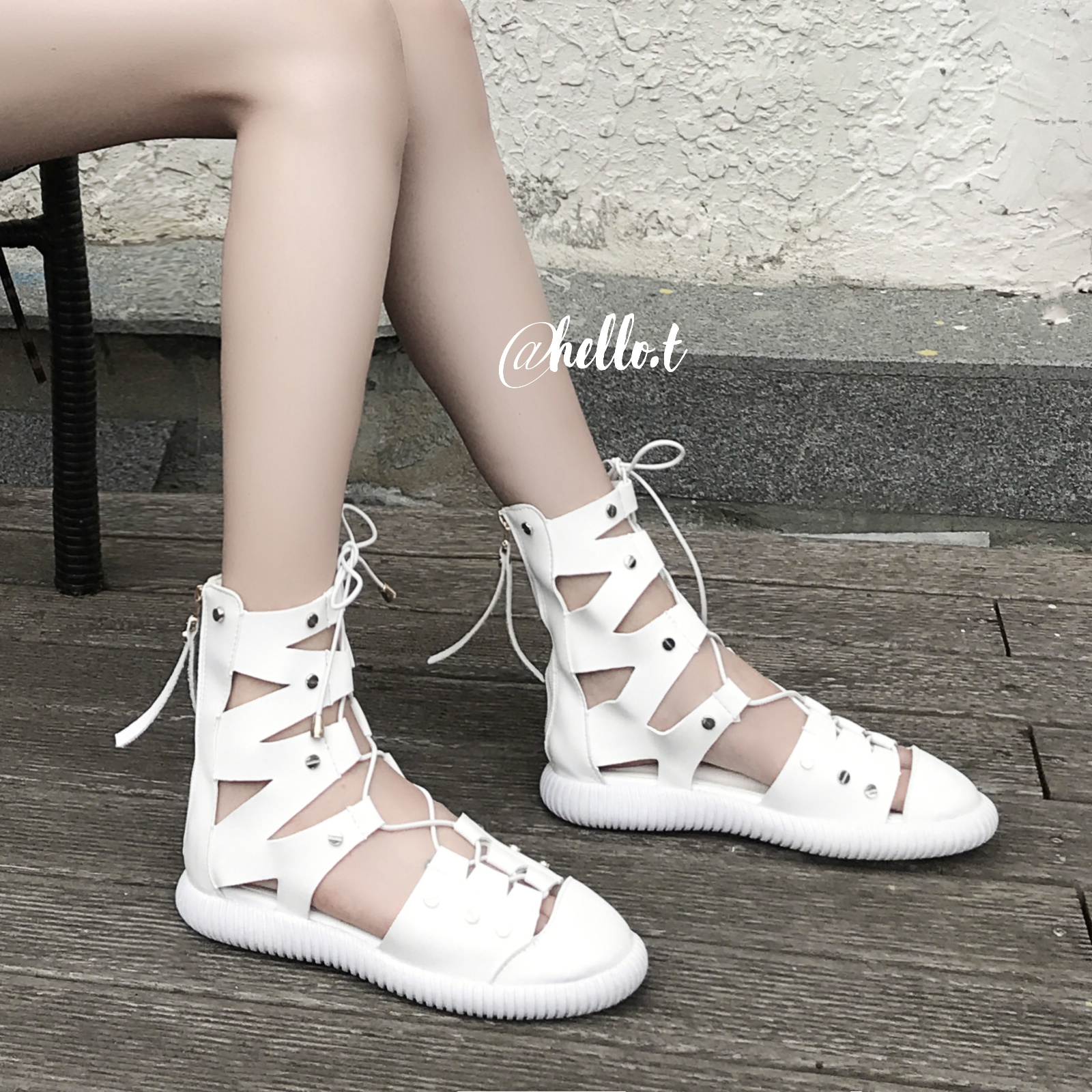 白色罗马鞋 网红蜜豆miki同款鞋平底绑带高帮凉鞋女夏白色罗马鞋子凉靴系带潮_推荐淘宝好看的白色罗马鞋