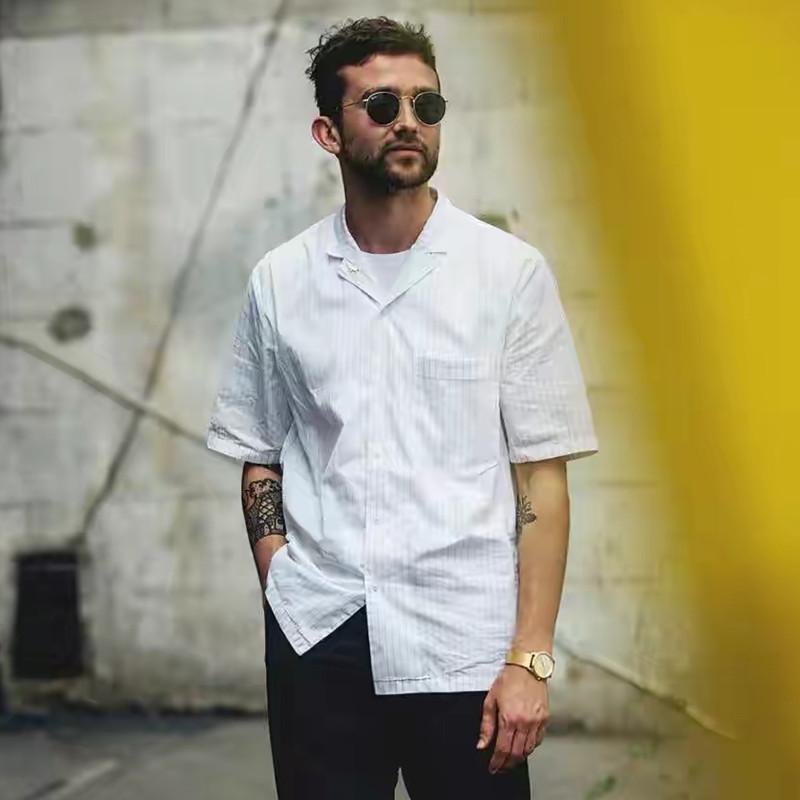 男衬衫 夏季 薄款 男女复古短袖衬衫 白色条纹 巴西领 古巴 青春休闲宽松_推荐淘宝好看的男衬衫