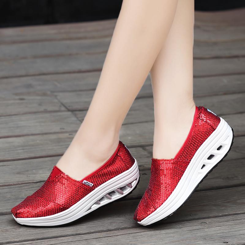 红色厚底鞋 春夏秋季新款亮片布鞋女透气摇摇鞋厚底帆布鞋玛丽红色鞋休闲女鞋_推荐淘宝好看的红色厚底鞋