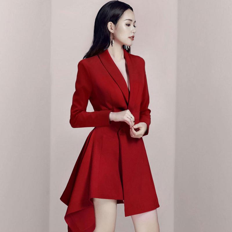 红色小西装 长袖红色小礼服裙子西装连衣裙西服女时尚高腰气质春秋不规则韩版_推荐淘宝好看的红色小西装