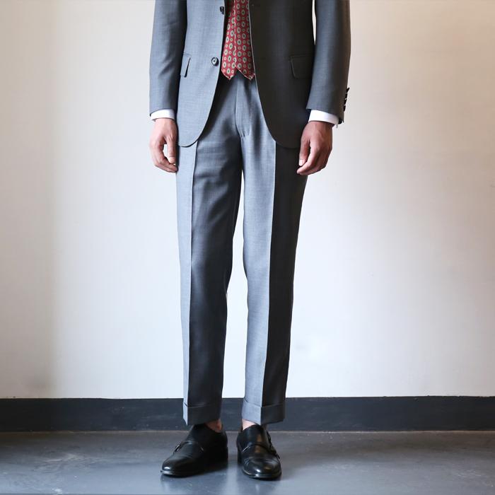 欧美西装男 春夏季 欧美男士修身型高腰巴黎扣西裤 灰色羊毛薄款九分西装裤_推荐淘宝好看的欧美西装男