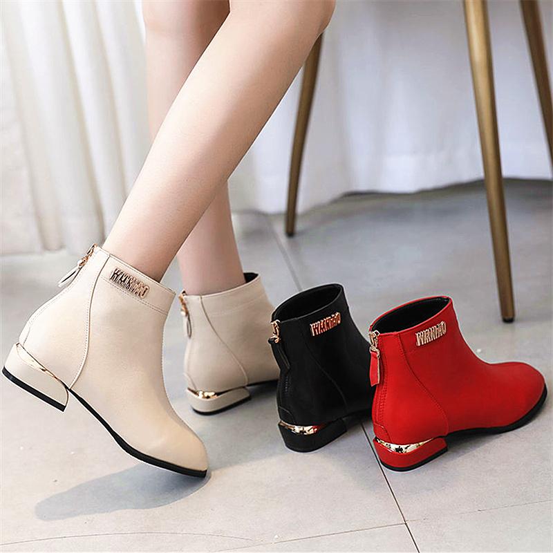 圆头短靴 2020秋冬保暖短靴女圆头粗跟靴子平底低跟英伦风马丁靴红色婚鞋女_推荐淘宝好看的女圆头短靴
