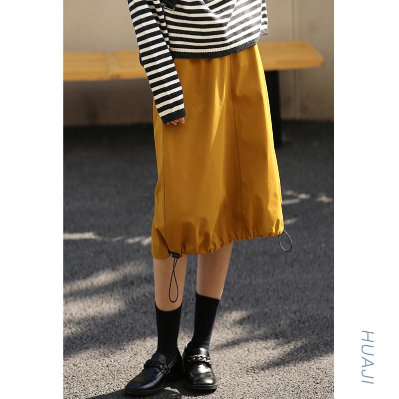 黄色半身裙 花吉姜黄色松紧下摆明线春裙半身裙春装女中长款百搭直筒学生Q029_推荐淘宝好看的黄色半身裙