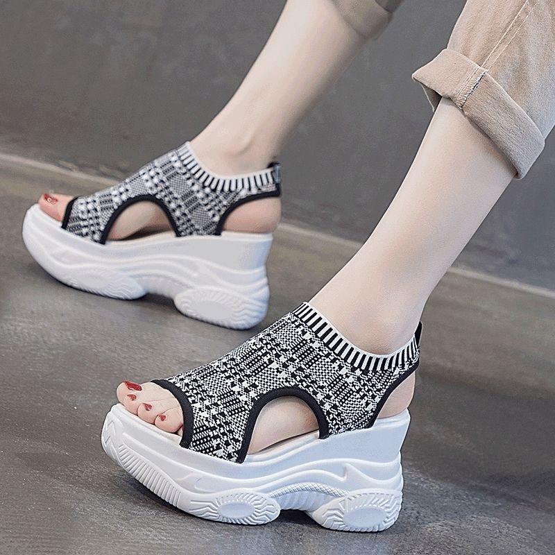 坡跟鞋 坡跟凉鞋女ins潮2021夏季新款百搭时尚网红超火厚底内增高罗马鞋_推荐淘宝好看的女坡跟鞋