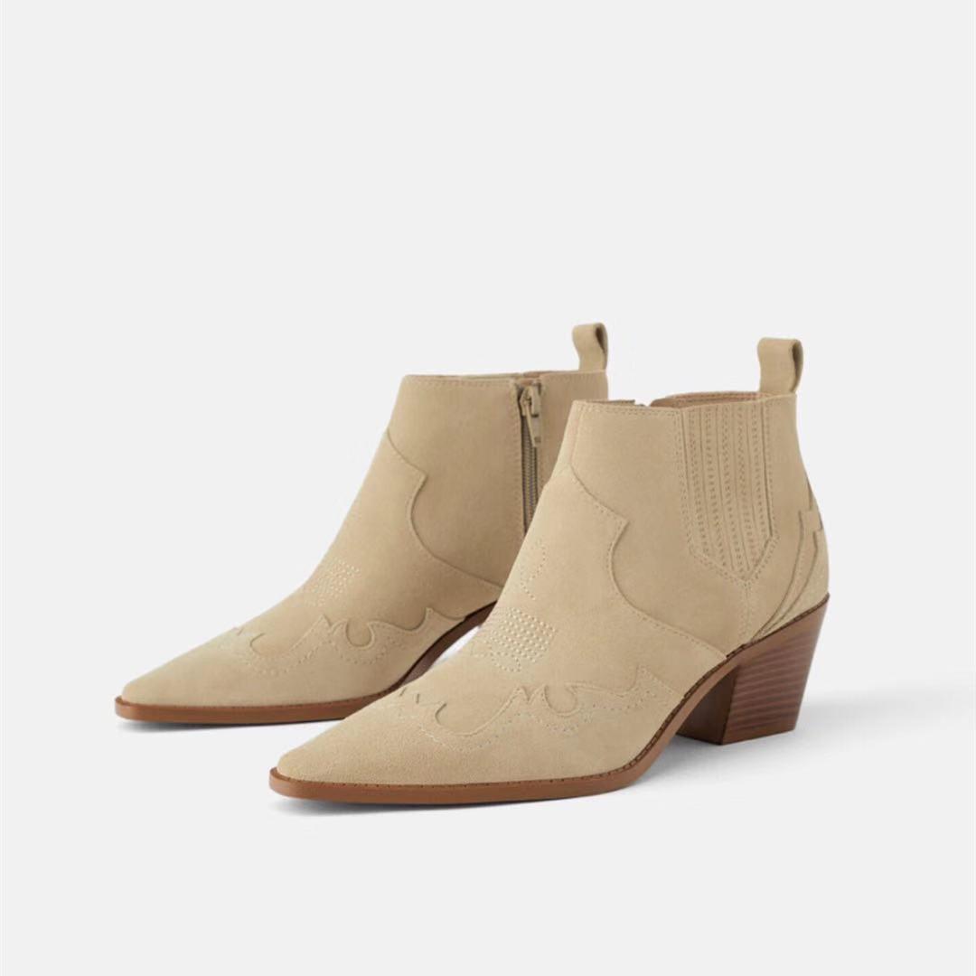 尖头短靴 欧美时尚新款尖头粗跟真皮及踝靴女短靴反绒皮牛仔式高跟女短靴女_推荐淘宝好看的尖头短靴