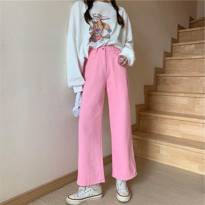 粉红色牛仔裤 粉红色水洗裤春秋网红莓子季长裤韩版宽松显瘦老爹少女粉色牛仔裤_推荐淘宝好看的粉红色牛仔裤