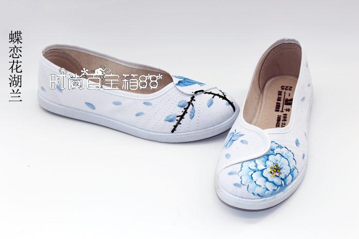 女士平底鞋 原创中国风平底鞋浅口单鞋手绘定制复古风平跟帆布鞋女春夏新款_推荐淘宝好看的女平底鞋