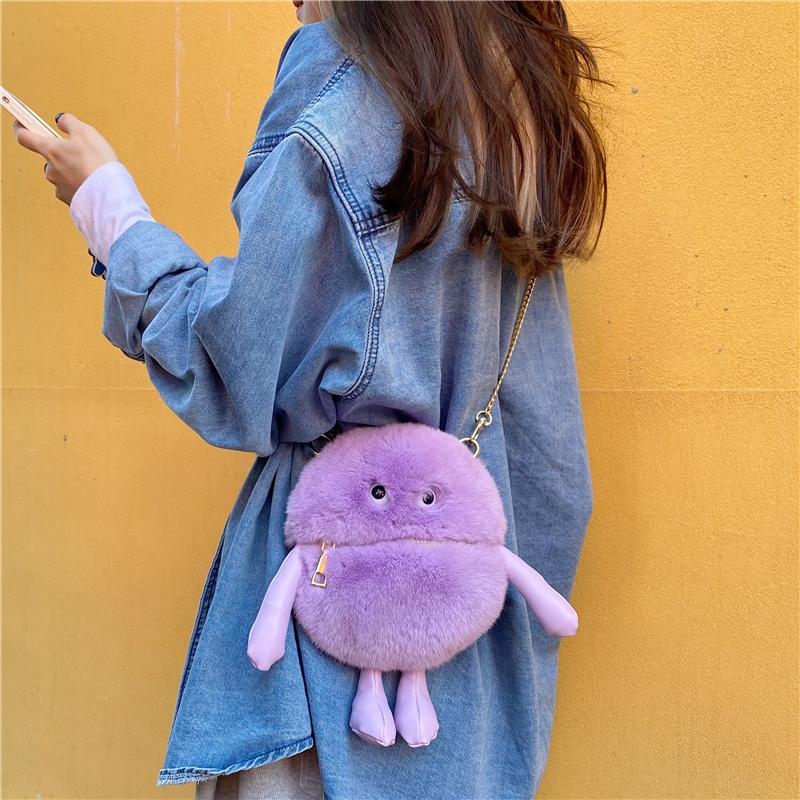 紫色迷你包 【豆子小怪兽】自制迷你丑萌卡通秋冬紫色獭兔毛单肩斜跨小包包女_推荐淘宝好看的紫色迷你包