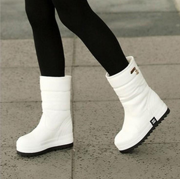 白色松糕鞋 冬季白色雪地靴女中筒松糕底加绒加厚短靴棉鞋防水厚底东北大棉靴_推荐淘宝好看的白色松糕鞋