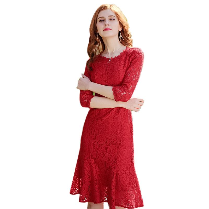 红色蕾丝连衣裙 品牌女装2019秋冬新款红色洋气蕾丝新娘敬酒晚礼服显瘦鱼尾连衣裙_推荐淘宝好看的红色蕾丝连衣裙