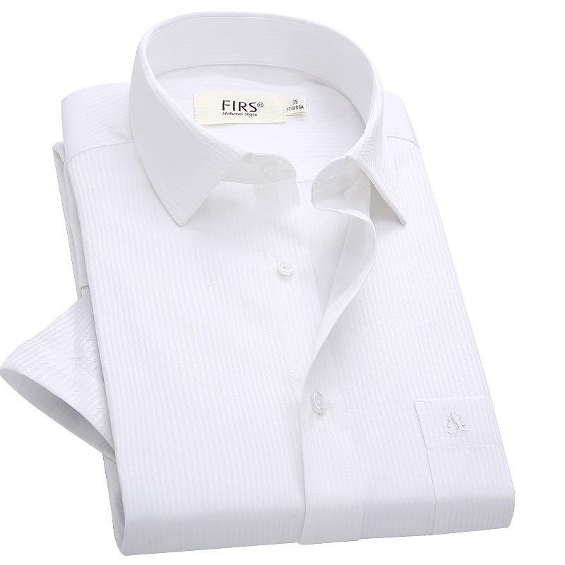 男士短袖衬衫 杉杉短袖衬衫男中青年纯白色商务免烫白色暗条纹高支棉半袖衬衣_推荐淘宝好看的男短袖衬衫