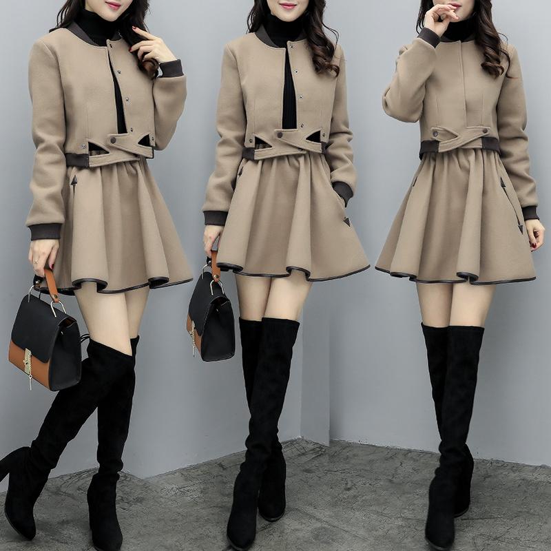 韩版毛呢女装 新款女装秋季韩版两件套裙毛呢外套棒球服短裙休闲时尚显瘦套装女_推荐淘宝好看的韩版毛呢女装