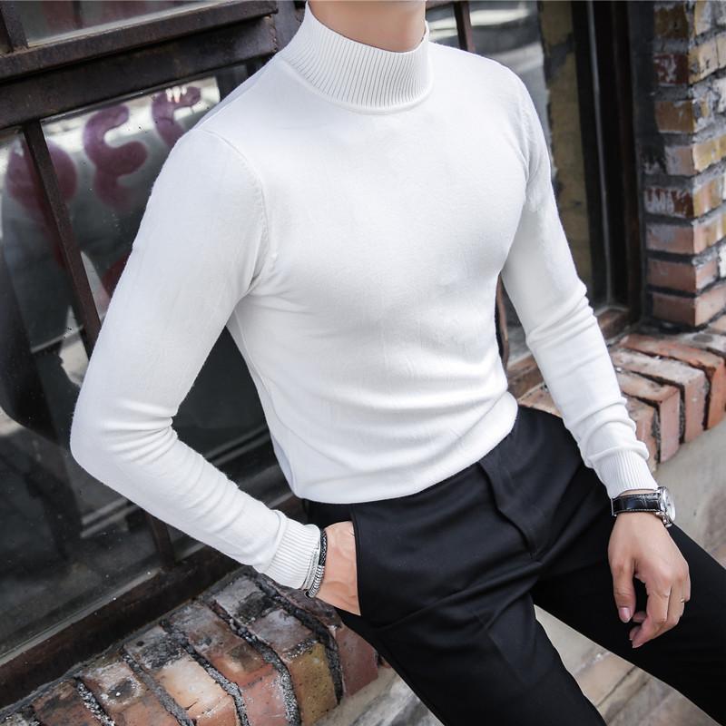 男士高领毛衣 秋冬韩版男士修身半高领长袖毛衣潮流青年中领紧身针织打底衫线衫_推荐淘宝好看的男高领毛衣