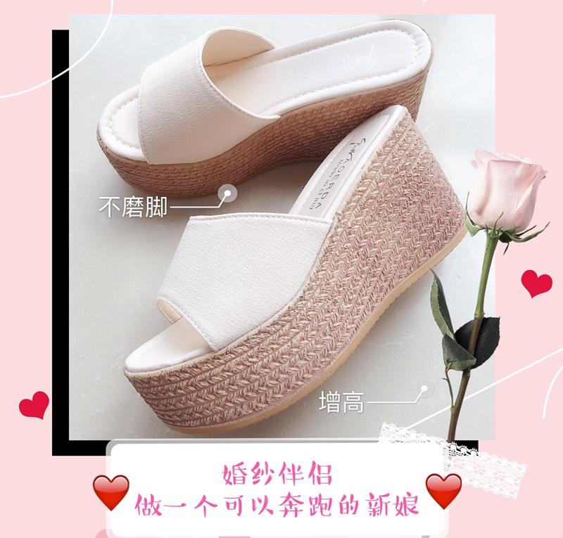 白色松糕鞋 婚纱神器白色婚纱配的婚鞋婚纱高跟鞋粗跟拖鞋增高松糕鞋9cm新娘_推荐淘宝好看的白色松糕鞋