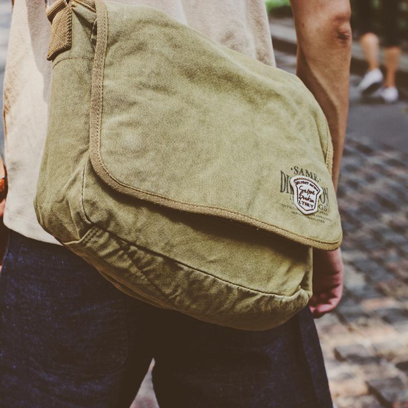 绿色邮差包 DUOBAI 超软水洗做旧帆布包 欧美单肩斜挎复古邮差包休闲运动男包_推荐淘宝好看的绿色邮差包