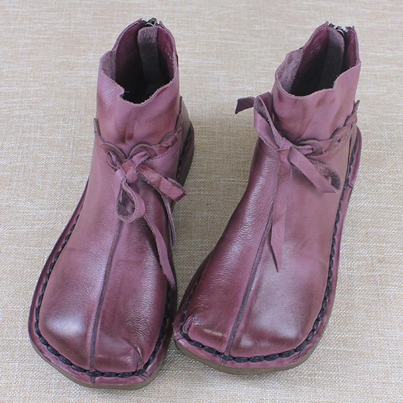 紫色平底鞋 风美嵩情原创手工短靴女秋冬平底复古女鞋裸靴民族风短靴女紫色_推荐淘宝好看的紫色平底鞋