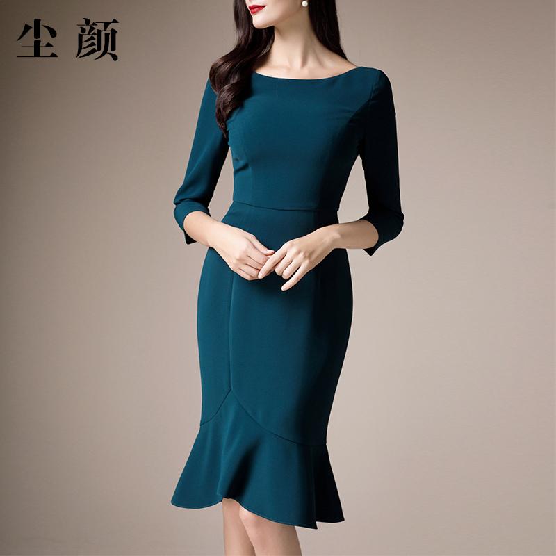 八分袖连衣裙 尘颜新款优雅八分袖墨绿连衣裙一字领修身鱼尾裙 F493_推荐淘宝好看的八分袖连衣裙