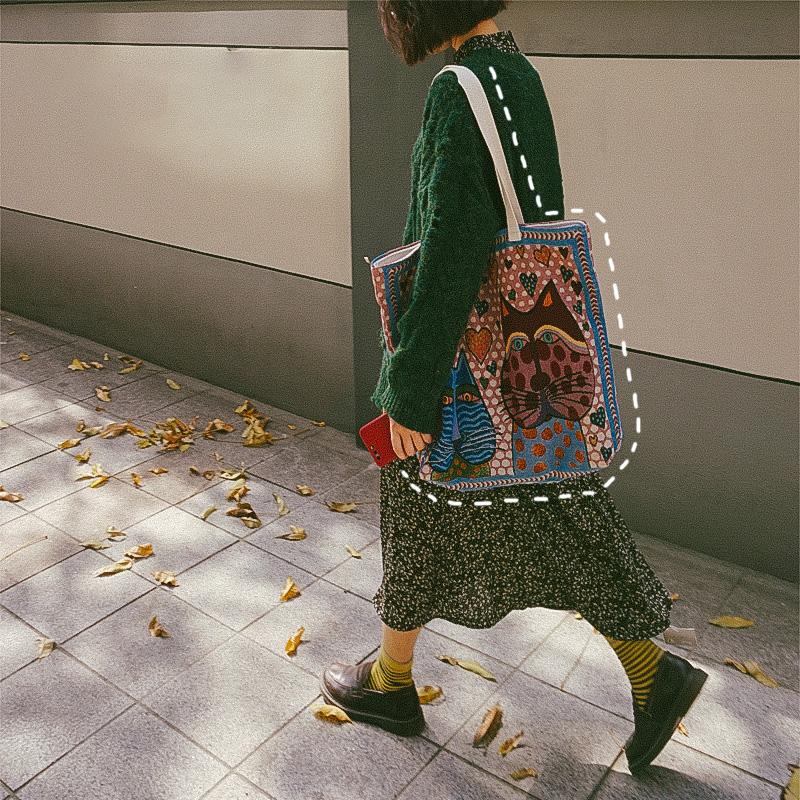 香奈儿复古包 辛德瑞拉原创设计 复古包包女刺绣印花大容量帆布包袋子单肩包潮_推荐淘宝好看的女香奈儿复古包