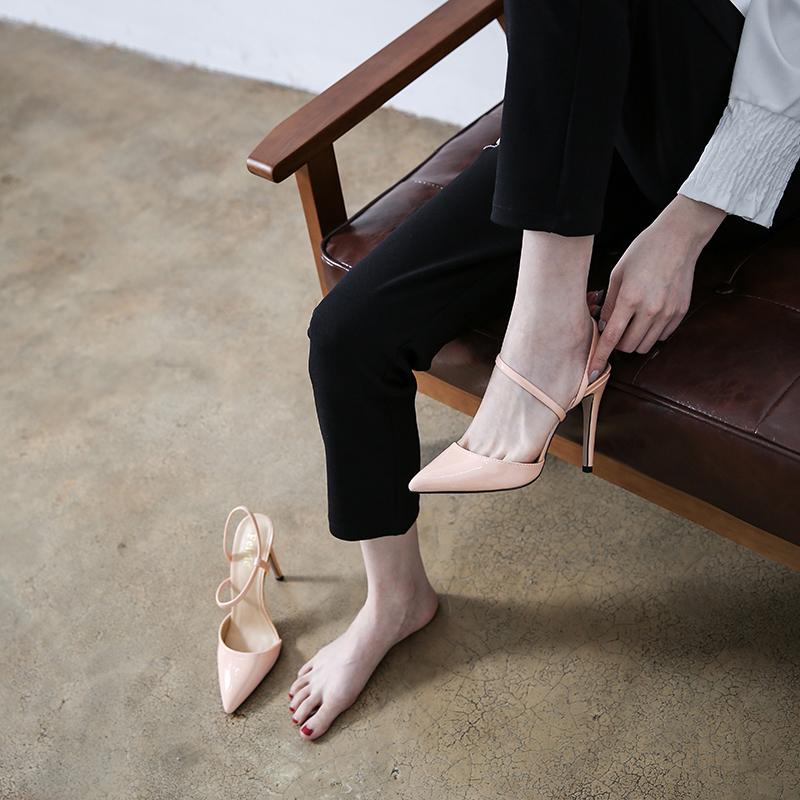 新款女士高跟凉鞋 2018春夏新款韩版浅口尖头包头性感后空简约细带高跟裸色女单凉鞋_推荐淘宝好看的女新款高跟凉鞋