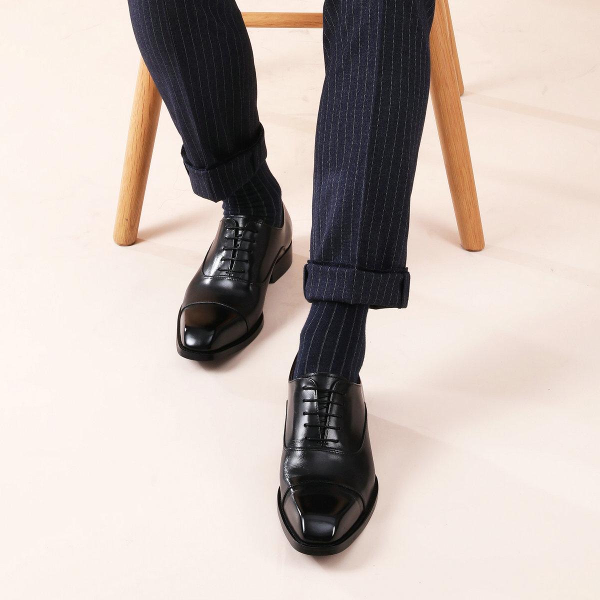 牛皮高档皮鞋 【高档皮质系列】手工男鞋真皮商务正装系带牛津皮鞋英伦方头牛皮_推荐淘宝好看的牛皮高档皮鞋