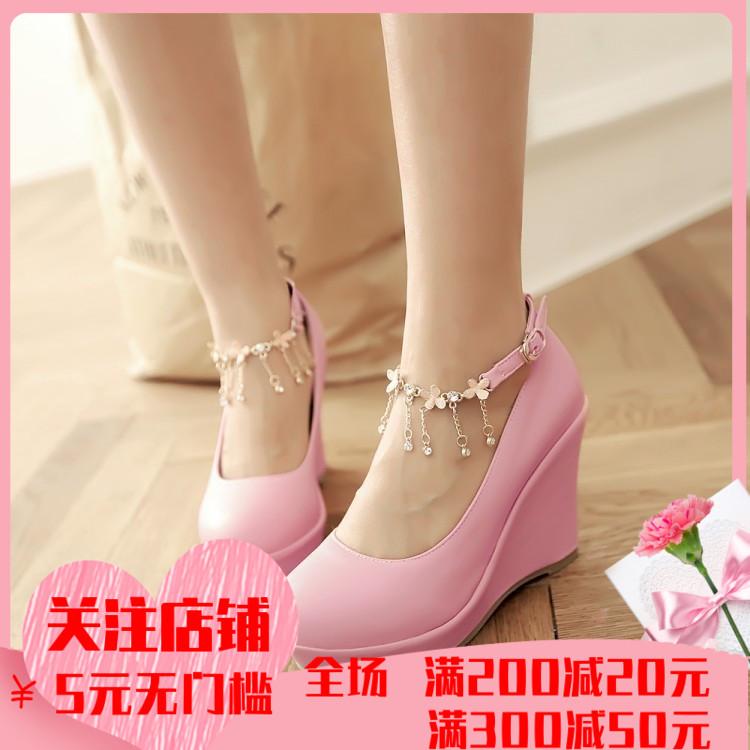 粉红色松糕鞋 粉红色吊坠绑带伴娘鞋防水台水钻白色搭扣坡跟婚鞋黑色演出松糕鞋_推荐淘宝好看的粉红色松糕鞋