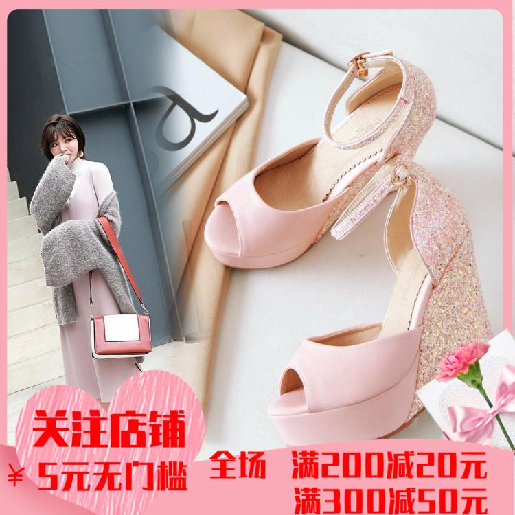 粉红色坡跟鞋 粉红色亮片坡跟婚鞋皮带扣白色高跟凉鞋40414243大码防水台鱼嘴鞋_推荐淘宝好看的粉红色坡跟鞋
