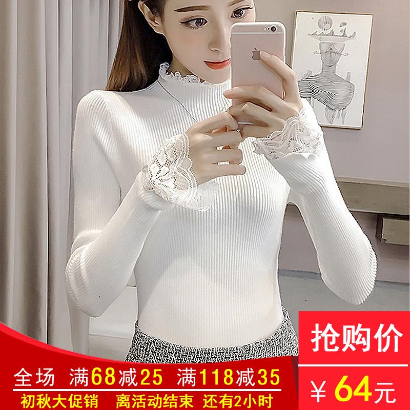 白色针织衫 新款韩版蕾丝拼接长袖打底衫上衣弹力修身高领套头针织衫毛衣女潮_推荐淘宝好看的白色针织衫