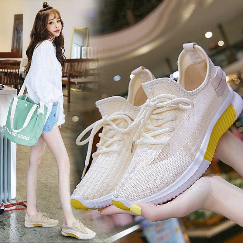 跑步鞋 P16椰子鞋女春夏新款透气飞织运动鞋女跑步ins网鞋子女学生韩版女_推荐淘宝好看的跑步鞋