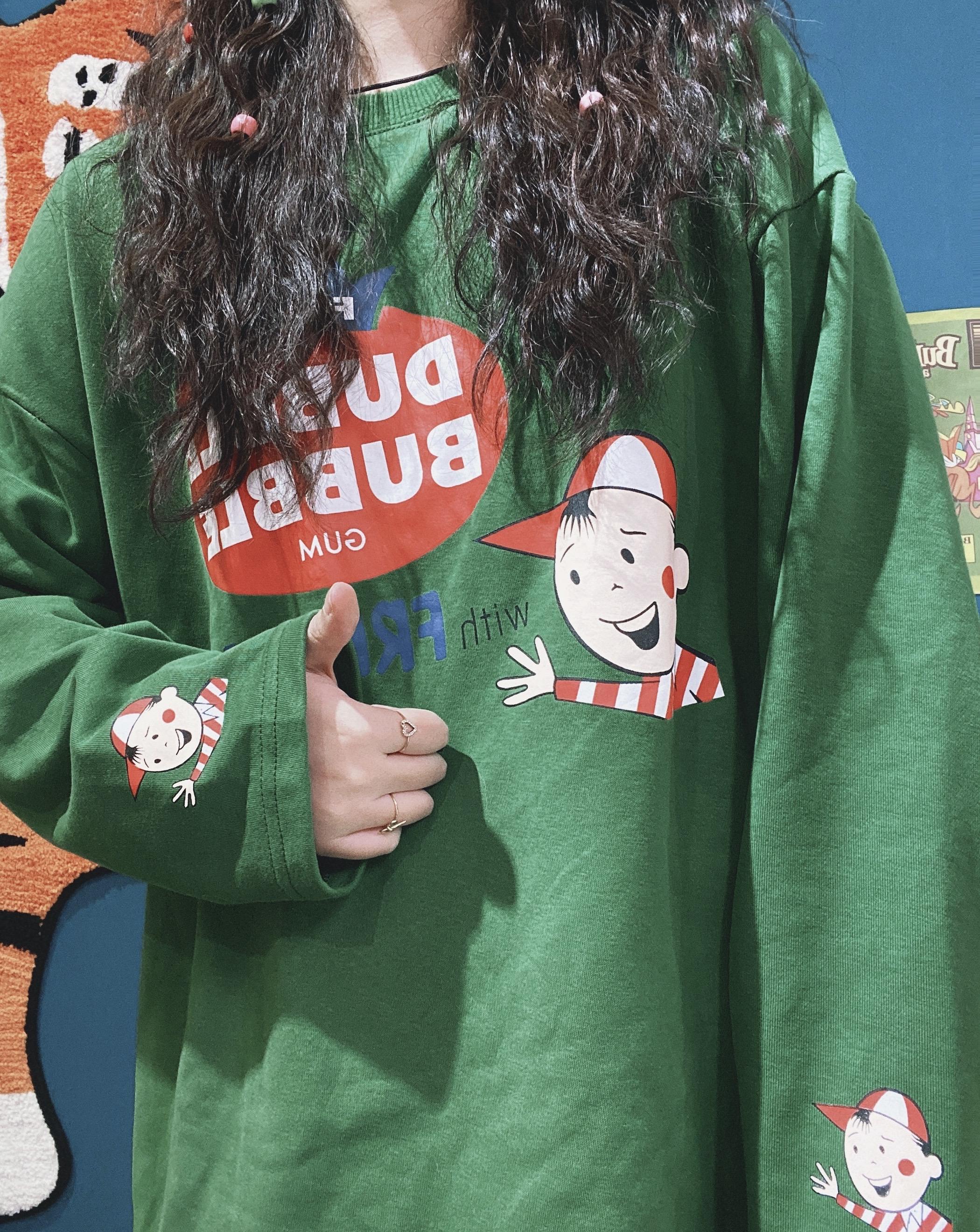 绿色卫衣 童趣古着绿色卫衣女春秋季新款宽松慵懒bf风圆领薄款上衣卡通长袖_推荐淘宝好看的绿色卫衣