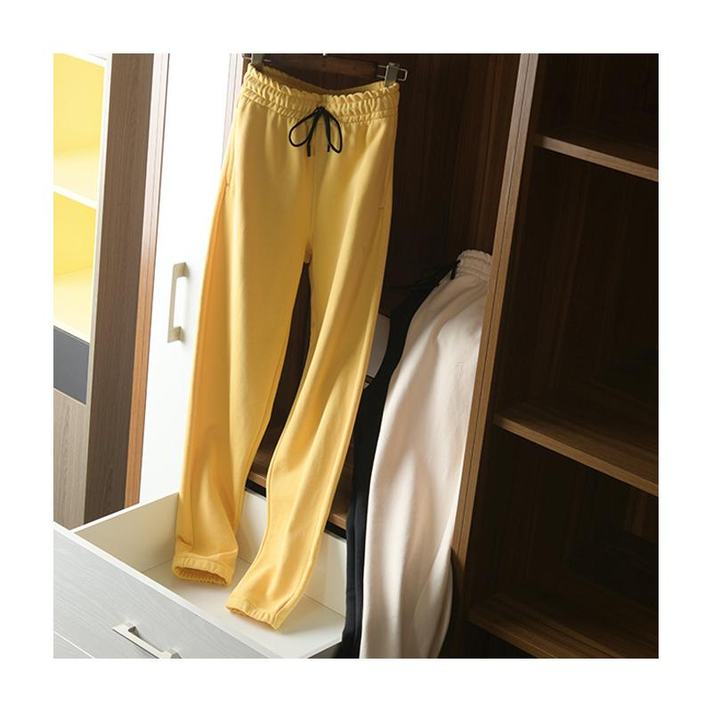黄色休闲裤 舒适有型抽绳卫裤小罗圈棉松紧腰显瘦遮丑休闲束口裤子女米色黄色_推荐淘宝好看的黄色休闲裤