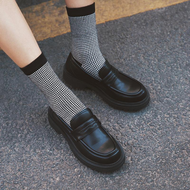 黑色平底鞋 玛速主义 2020新款厚底英伦风单鞋女秋复古小皮鞋黑色平底乐福鞋_推荐淘宝好看的黑色平底鞋